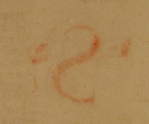 Offset ink on the front flyleaf from the decorated initial 'S' now bound second