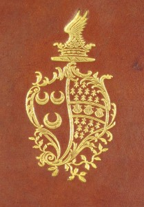 Wodhull's gilt armorial stamp on the binding of SSS.4.16